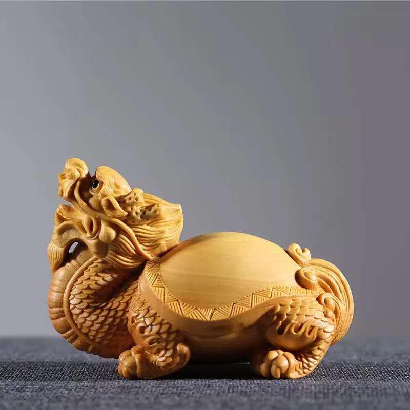 Décorations de sculpture sur bois de buis, maisons, mauvais esprits, artisanat de sculpture, animaux de bon augure, tortue de Dragon en bois massif