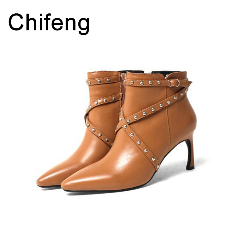 genuine leather boots women ankle for womens shoes winter woman fashion high heels boots