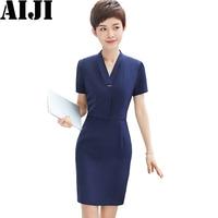 2018 Summer Fashion V Neck Ladies Dresses OL Elegant Formal Business Short Sleeve Navy Slim Woman