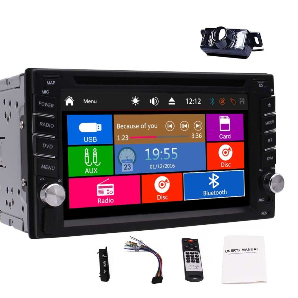 Double Din In Dash Car Autoradio Headunit DVD CD Player MP3 MP4 USB/TF AM/FM RDS Radio Bluetooth SWC AUX 1080P Video Free cameraDouble Din In Dash Car Autoradio Headunit DVD CD Player MP3 MP4 USB/TF AM/FM RDS Radio Bluetooth SWC AUX 1080P Video Free camera