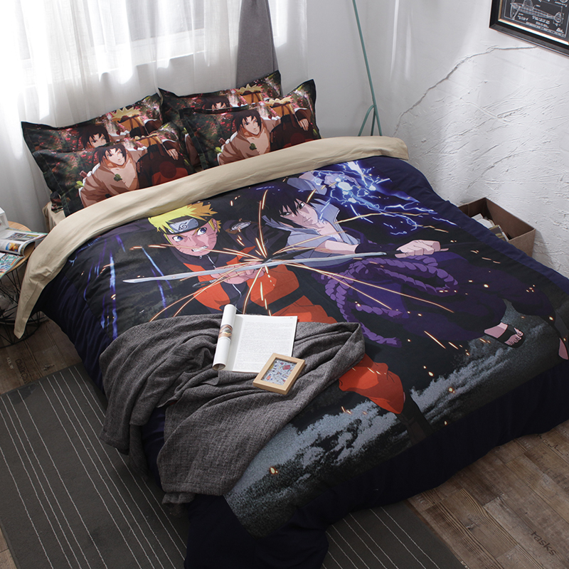 Cartoon Japanese Anime Naruto Bedding Sets Black 3pcs Bedclothes Duvet Cover Quilt Cover Pillow Cases For Children Room