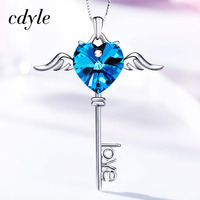 Cdyle Crystals From Swarovski Necklace Women Pendants S925 Sterling Silver Jewelry Blue Purple Series Heart Fashion