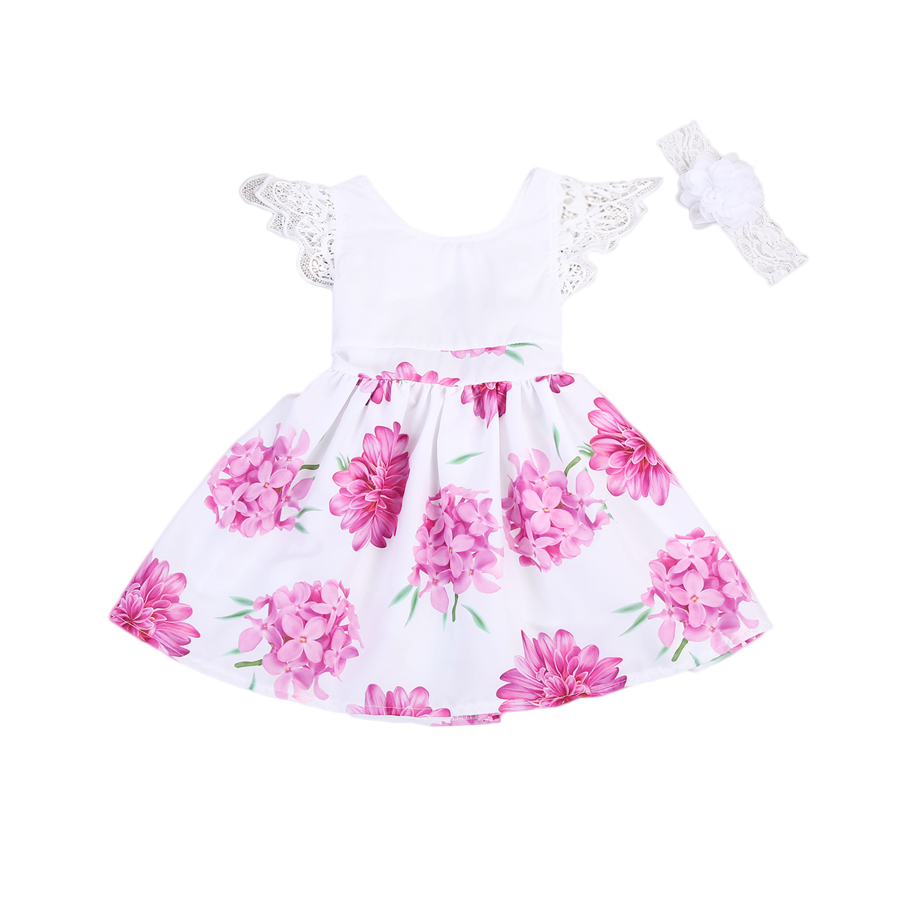 Kids Toddler Girls Floral Lace Dress Summer Princess Party Dress With Headband