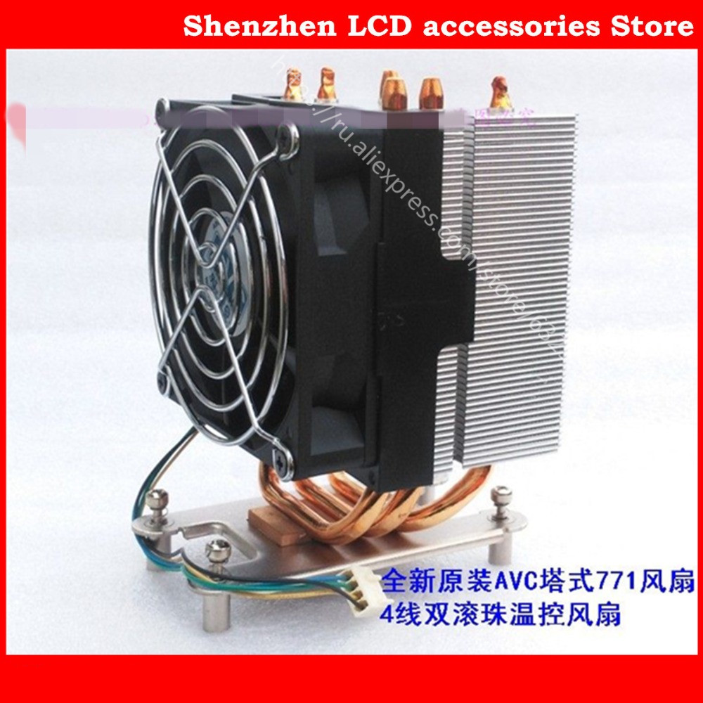 New AVC 771 copper bottom heat pipe radiator tower side 5 u server 4 line ball temperature control fan AVC771 avc data1551b4l 17250 24v line server electronic enclosures fan