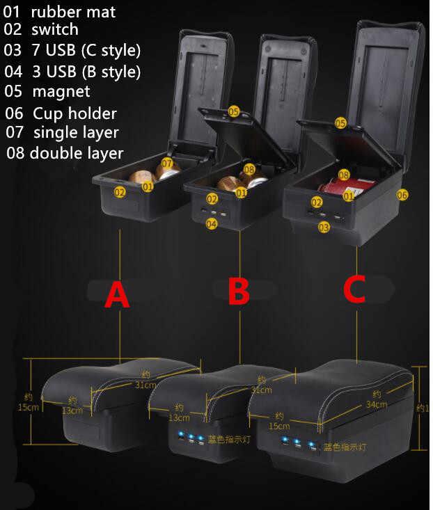 Para kia picanto reposabrazos caja de almacenamiento de contenido de tienda central caja reposabrazos caja con sostenedor de taza Cenicero de interfaz USB