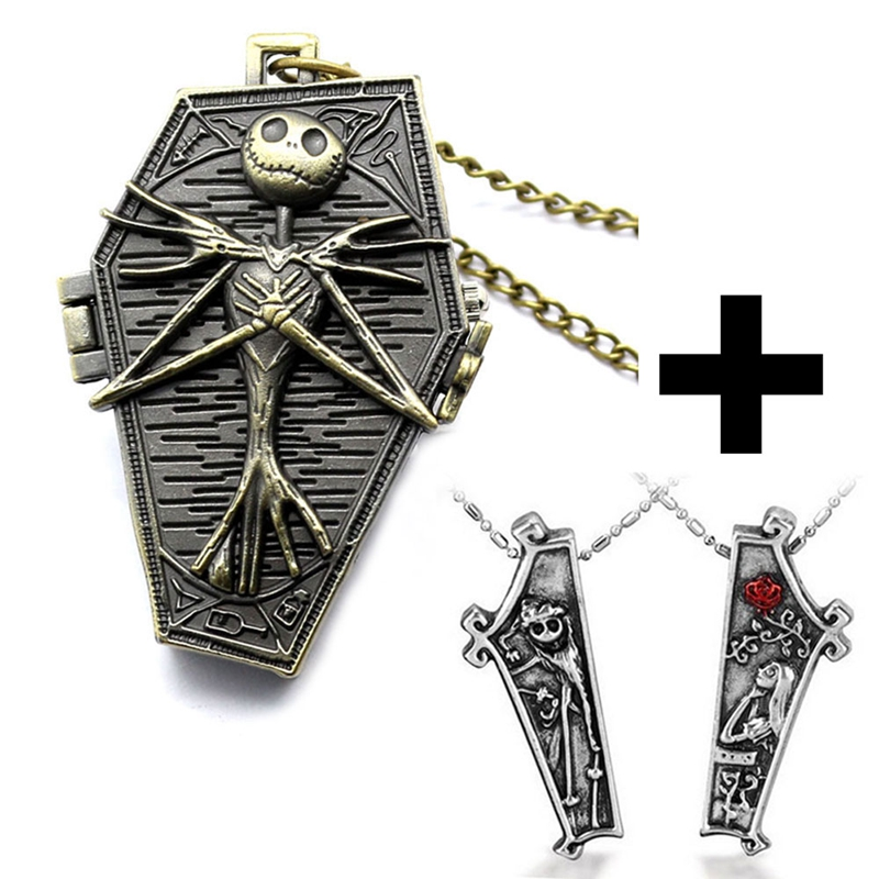 The Nightmare Before Christmas Coffin Vintage Bronze Irregular Pocket Watch Cool Necklace Fob Chain Gift Set Boy Men + Watch Bag