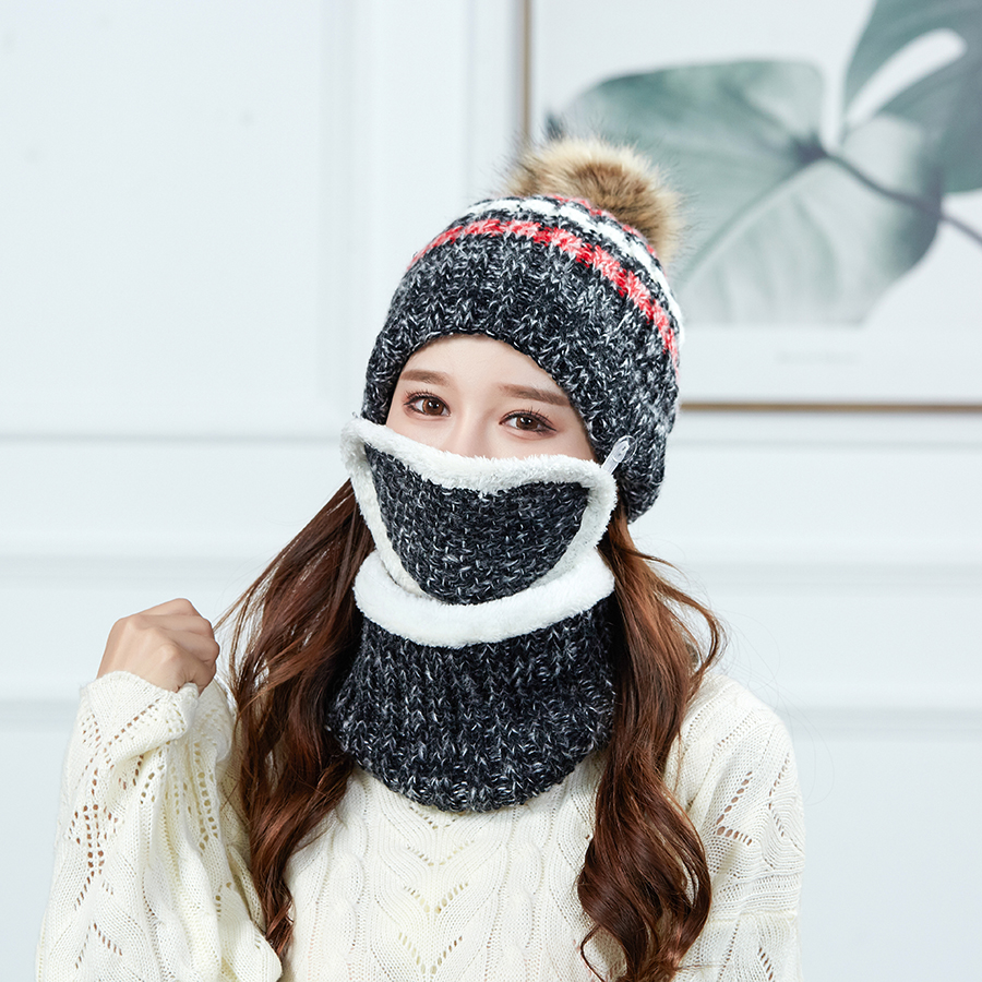 Women Knitted Hat Scarf Mask Three Pieces Set Fashion Wool Knit Hat Collars Female Warm Snow Caps Windstoper Face Mask Hat Set