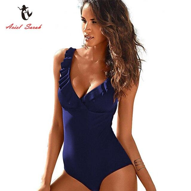 586b8730d15 Ariel Sarah Plus Size Swimsuit Sexy Deep V Swimwear Solid Ruffle Halter Monokini  Bathing Suit Women Bodysuit Traje De Ba O Mujer