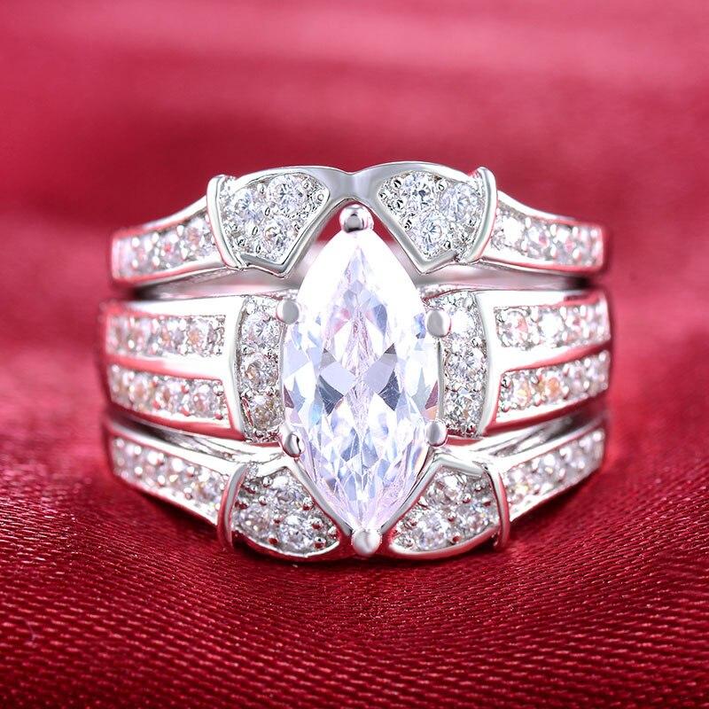 Fashion Long Cubic Zircon Engagement Wedding Ring Set For