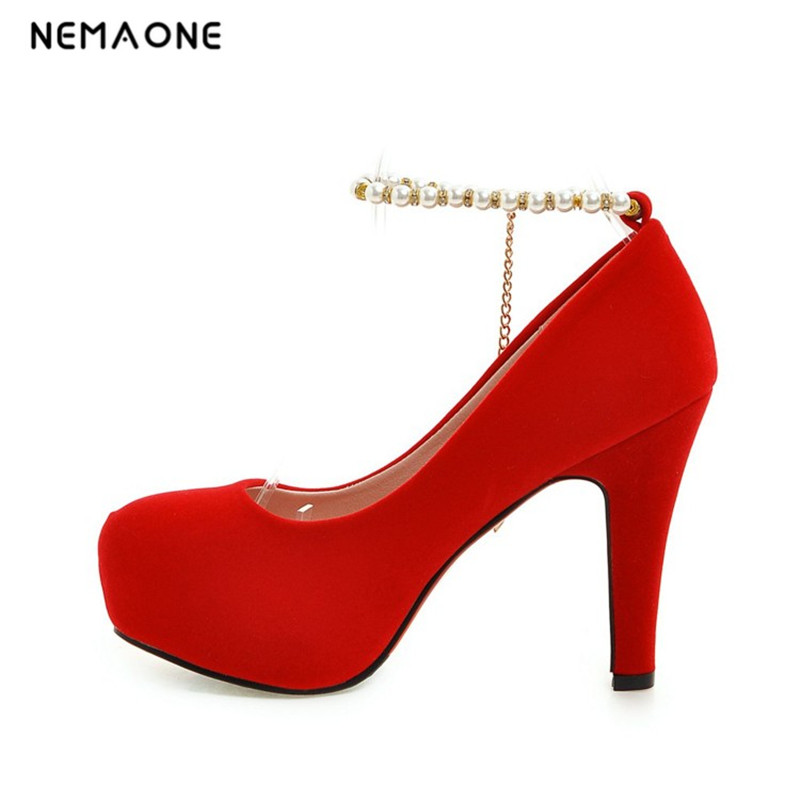 NEMAONE Sexy Round Toe thin High Heels Women Pumps Buckle Strap Pearl Faux Suede Brand Wedding Party Pumps High Heel Shoes Woman