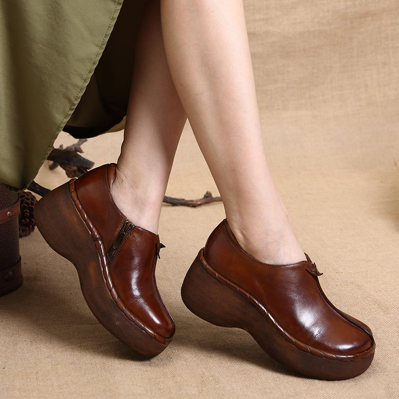 Thick Bottom Round Head Handmade Casual Shoes Woman Genuine Leather High Heels For Spring Autumn Winter