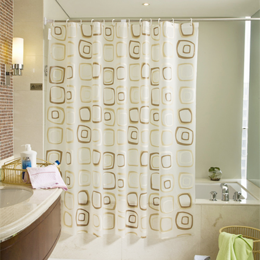 Practical Boutique Waterproof bath Curtain Square Pattern Home decor Bathroom Shower Curtain PEVA fabric 180*200CM