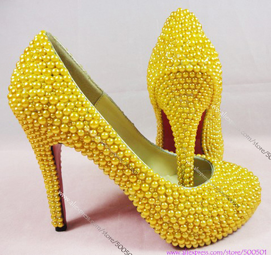 Yellow Wedding Shoes New Fashion Handmade High Heeled Rhinestone Heelatching Clutch Bag In Women S Pumps From On Aliexpress