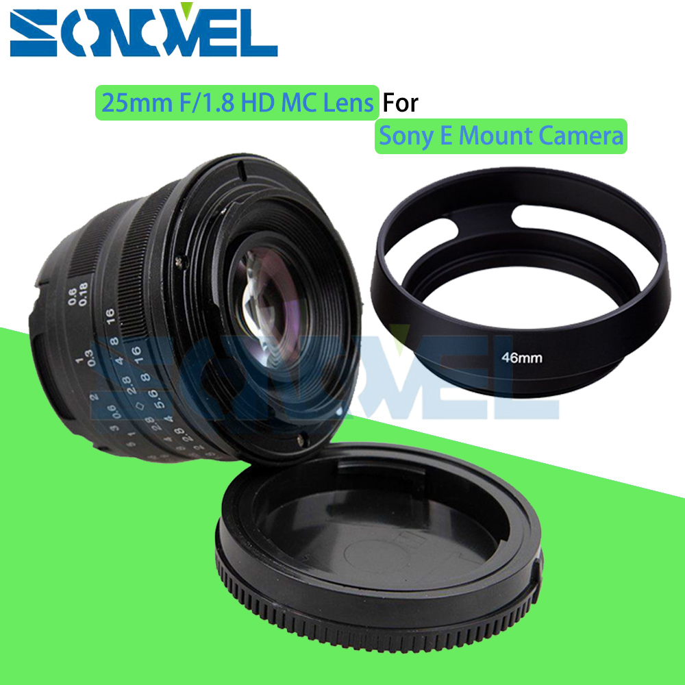 Black 25mm F/1.8 HD MC Manual Focus Wide Angle Lens+Hood for Sony E Mount A7 A7R A7S A7RII A7SII A6300 A6500 NEX-7 NEX-6 NEX-5RBlack 25mm F/1.8 HD MC Manual Focus Wide Angle Lens+Hood for Sony E Mount A7 A7R A7S A7RII A7SII A6300 A6500 NEX-7 NEX-6 NEX-5R