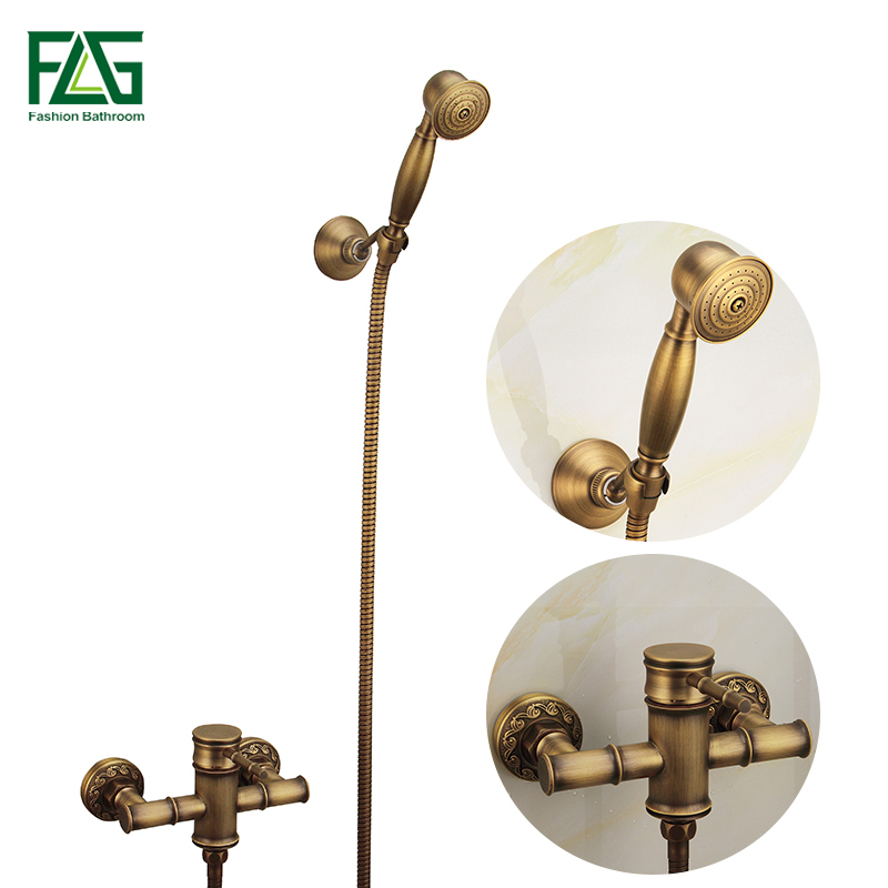 FLG Wall Mounted Antique Brass Bathroom Faucet Bathtub Tub Mixer Tap With Hand Shower Head Shower Faucet Set Free Shipping HS008 free shipping new fashion brass chrome bathtub faucet wall mounted bathroom mixer valve mixer shower set