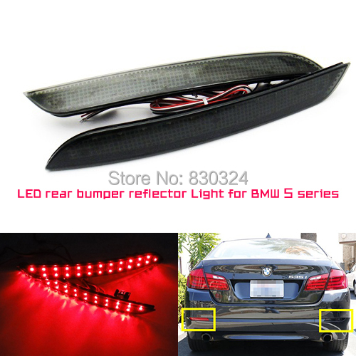 Black Smoked LED Rear Bumper Reflector Replacement Light For 2011 up BMW F10 5 Series 528i 535i 550i (Regular Bumper Trim Only)