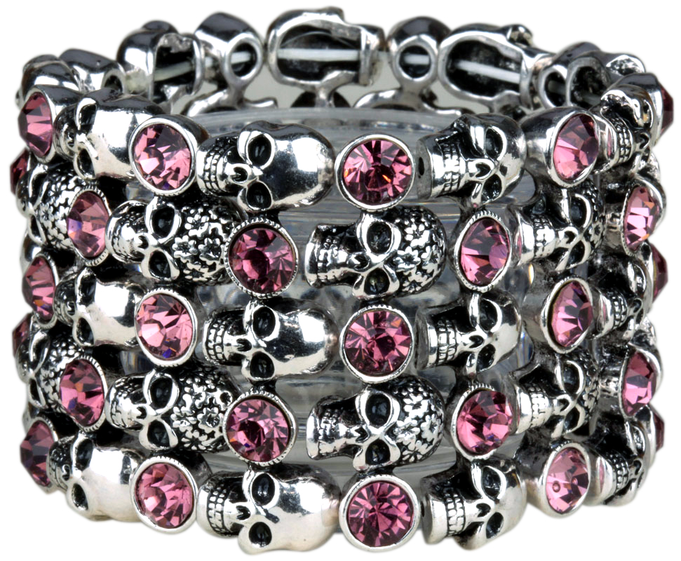 YACQ Skull Skeleton Stretch Cuff Bracelet for Women Biker Bling Crystal Jewelry Antique Silver Color Wholesale Dropshipping D07 2