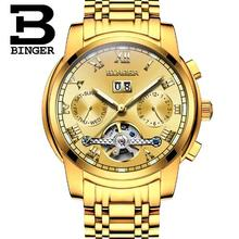 2017 Men automatic mechanical watches hollow Golden stainless steel waterproof famous brand BINGER luminous sports watch man
