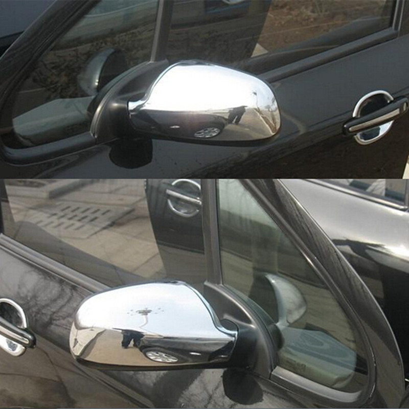 Door Side Wing Rearview Mirror Case Side Mirror Chrome Cover For Peugeot 307 CC SW 407 2004-2012 Accessories 2pcs Car Styling nitro triple chrome plated abs mirror 4 door handle cover combo