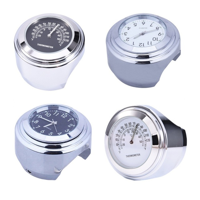 """1 Pcs Universal 1"""" Chrome Waterproof 7/8 Motorcycle Handlebar Mount Temp Thermometer Clock Watch Motorcycles Accessories"""