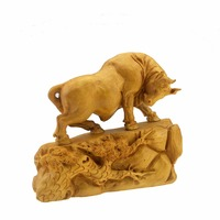Boxwood Carved Furniture Bull Handmade Designer Professional Home Furnishings Festival Gift Creative Office Desktop Decoration