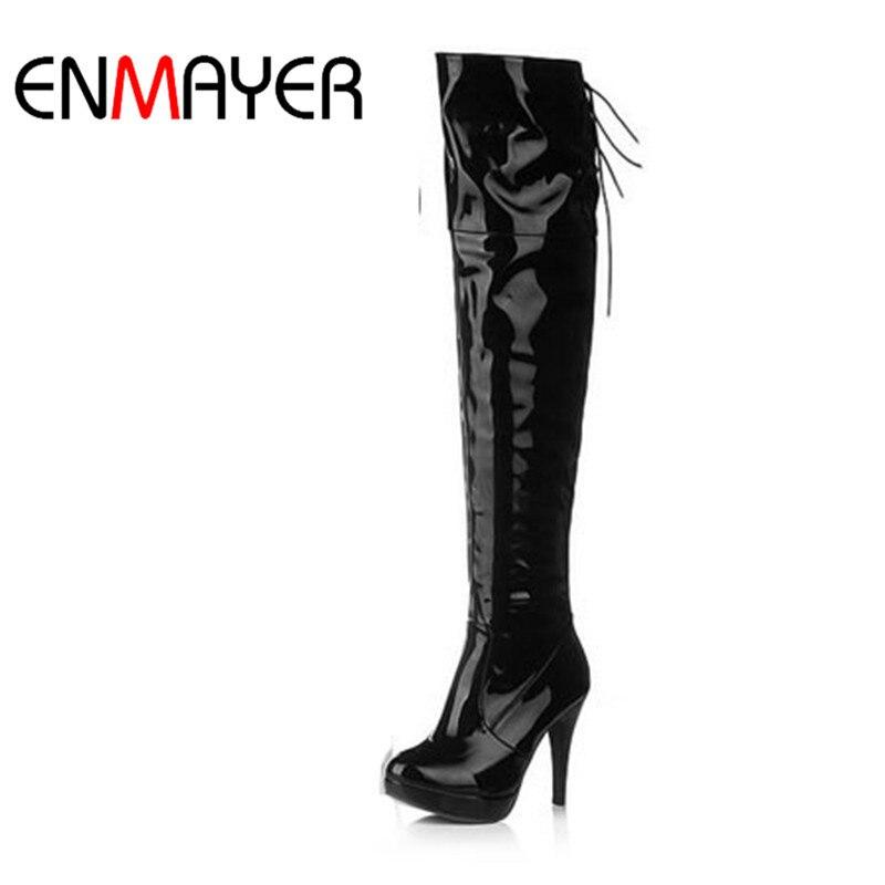 US $28.75 48% OFF|ENMAYER Dame Über Knie Stiefel Mode Lange Frauen Stiefel Winter Schuhe Hohe Ferse Schuhe Größe 34 39 Schuhe Frau herbst Stiefel in