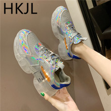 HKJL European station 2019 spring summer new thick bottom laser sneaker bright surface breathable mesh shoes A560