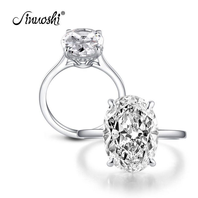 AINOUSHI 925 bague de fiançailles en argent Sterling pour femmes 5ct ovale Solitiare Halo anneaux amoureux bijoux bague femme argent squillare