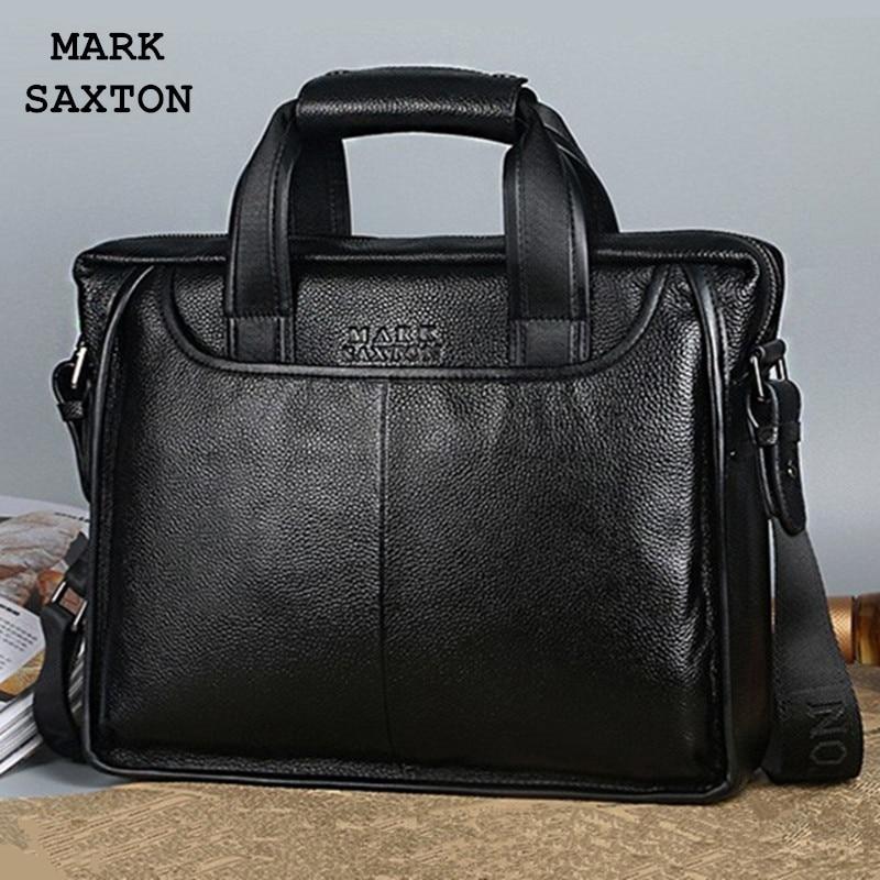 MARK SAXTON Guarantee Natural Genuine Leather Bag Handbag Famous Brand Designer Soft Cowskin Casual Business Men Briefcases Bags