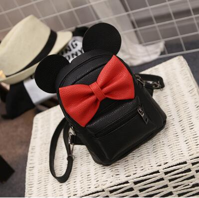 Mickey Backpack 2017 New PU leather Women's bag Teen Girls Backpacks Cute Animals ears Sweet Bow Wild School Female Mickey Bag