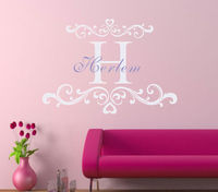 D207 Baby Girl Name Decal With Damask Monogram Name Wall Sticker For Nursery Decor