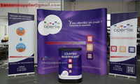 Quality Trade Show Combo (a POP up backdrop + 2 roll up banner + a Display Podium/Case)