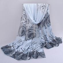 Rose print chiffon scarves woman thin shawl turban belt wholesale hijab fashion arabic scarfs wrap
