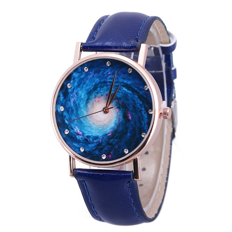 Starry Sky Outer Space Unisex Wristwatch Little Stars Luxury Casual Quartz Blue Leather Women Watch Creative Planet Lady Watches gaiety g385 women s starry sky face leather band quartz watch