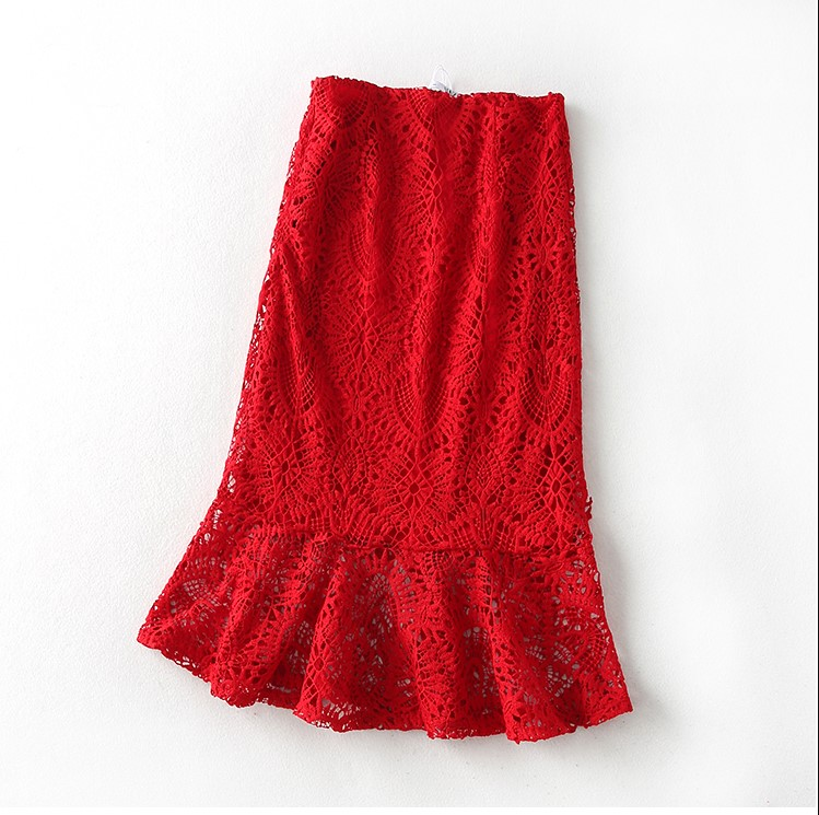 Tallas Cremallera S Verano L Falda Mujeres Grandes Saia Para M Pescado De Sexy Rojo Taile Con Párr Volantes Encaje Alta Cintura Mujer Faldas 0rq0n1