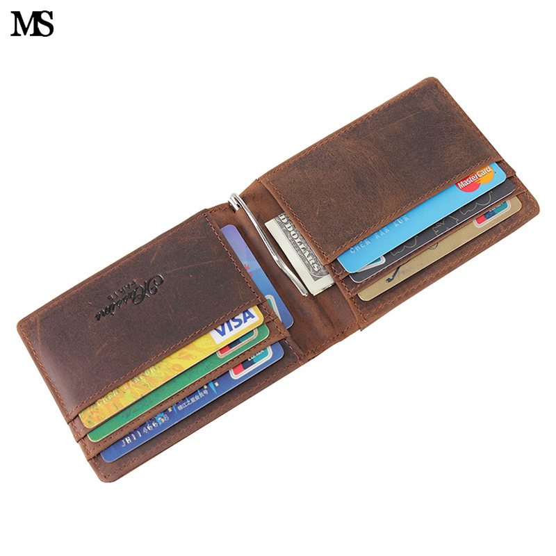 MS New Arrival Mens Crazy Horse Leather Money Clips Genuine 2 Folded Open Clamp For With Coin Pocket Wallet K146