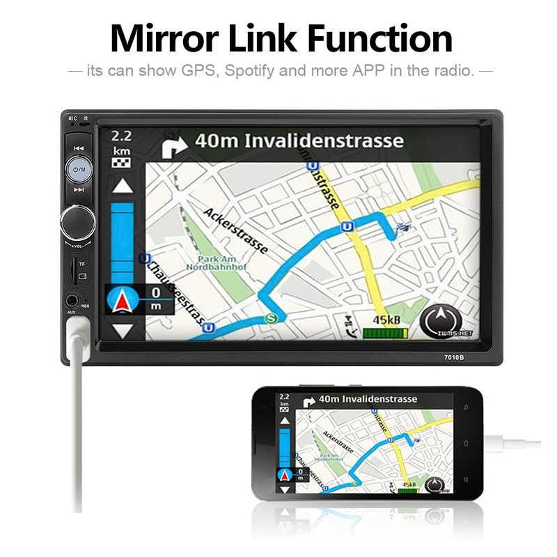 Auto Audio Speler Bluetooth Stereo FM Radio Auto MP5 7010B SD AUX USB 5V Lader Auto Elektronica Subwoofer 2Din autoradio