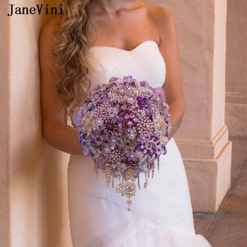 JaneVini Luxury Waterfall Crystal Purple Wedding Bouquet Bling Rhinestone Pearls Handmade Silk Orchid Flowers Bridal Accessories