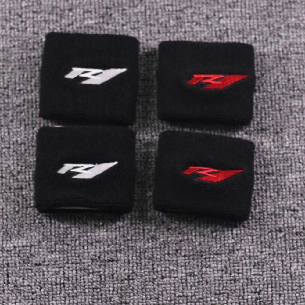 Motorcycle R1 3D Logo Front Brake Reservoir Sock Fluid Oil Tank Cup Cover Protector Set For Yamaha YZF R1 YZF-R1 YZFR1 R1s