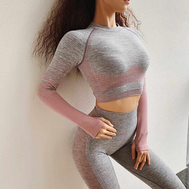 المرأة سلس طويلة الأكمام المحاصيل قميص حريمي البرتقال اليوغا قمصان رياضية تجريب القمم اللياقة البدنية تشغيل المجهزة قميص ملابس رياضية