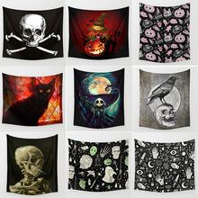 Hot sale halloween skull skeleton hands wall hanging tapestry homedecoration wall tapestry tapiz pared L  200*150cm  M 150*130cm wall decor flowers halloween playing guitar skull tapestry