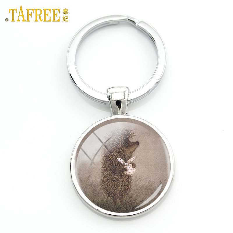 TAFREE Hedgehog In The Fog Cartoon Photo Keychain For Men Women Handmade Fashion брелок Key Chain Ring Holder Jewelry H230