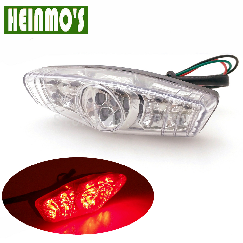 Motorcycle LED Brake Stop Signal Tail Light Street Bike Rear Indicator lights White Lens for Honda Kawasaki Yamaha Ducati Suzuki