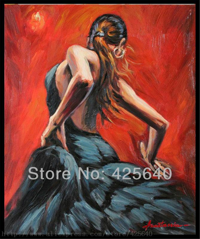 Španělská Flamenco tanečnice malování latina žena Olejomalba na plátně výška Kvalita Ručně malované Malování latina Černá sukně