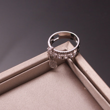 Ajojewel Fashion Cubic Zirconia Ring Drop Round Charm Silver Color Womens Rings Jewellery
