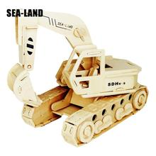 A Kids Toys Of 3d Puzzle Wooden For Children The Excavator Best Montessori Educationaly Diy Toy As Good Gift