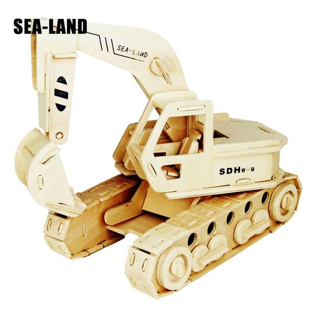 A Kids Toys Of 3d Puzzle Wooden Toys For Children The Excavator & Dump Truck Best Montessori Educationaly Diy Toy As A Good Gift