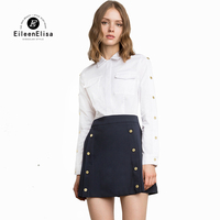 Office Lady Shirt Peter Pan Collar Blouse White Female Long Sleeve Buttons Side Blouses