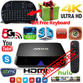 Original M8S Amlogic S812 Quad Core Android Smart JAILBROKEN TV Box completamente cargado 4 K 2 GB / 8 GB wifi HDMI KODI + Air Mouse Keyboard