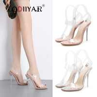 Women Sandals Transparent Ankle Strap With Hollow Crystal Clear Thin Heels Open Toe Adjustable Buckle Party Wedding Shoes Silver